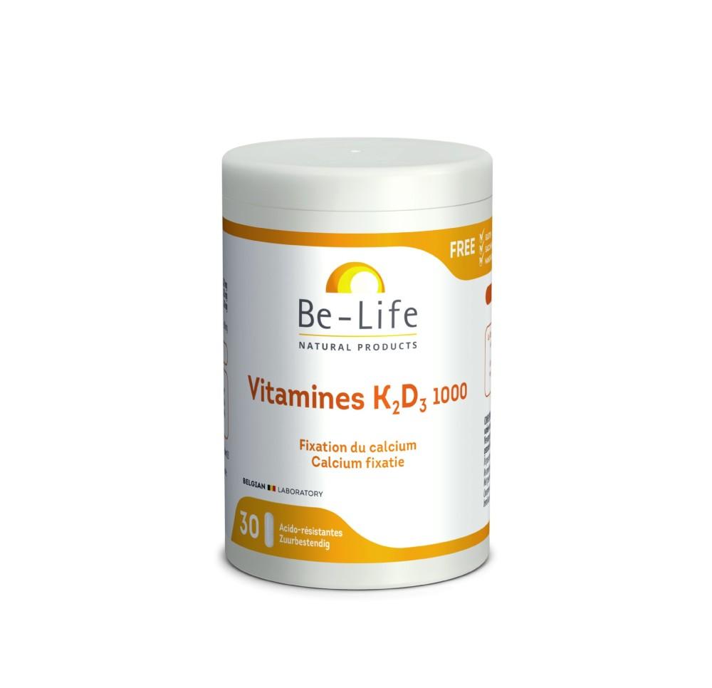 Be-Life Vitamines K2-D3 - 30 caps Actieve componenten : Vitamine K2 (menaquinone K7) 135 µg Vitamine D3 natuurlijke 20 µg